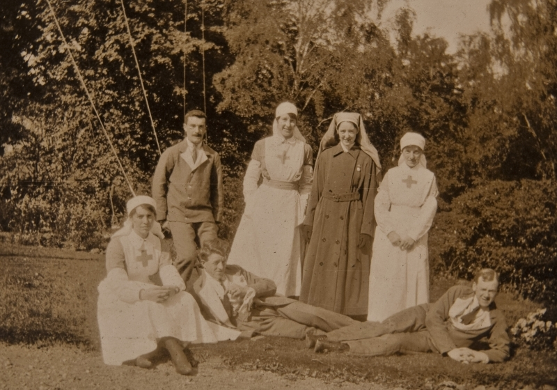 Group photograph, nurses and patients<br />