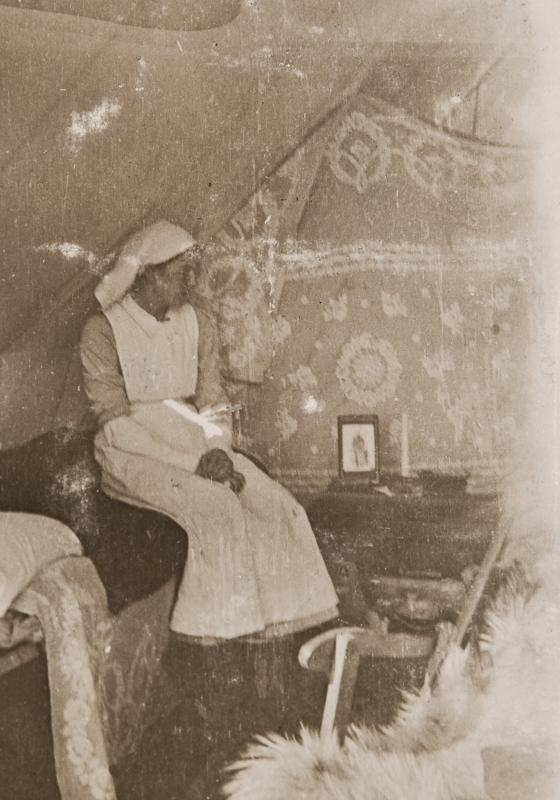 Nurse Allan in tent<br />
