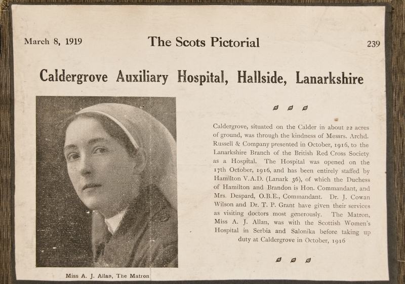 Newspaper cutting relating to the retiral of Matron Allan from Caldegrove Auxiliary Hospital<br />