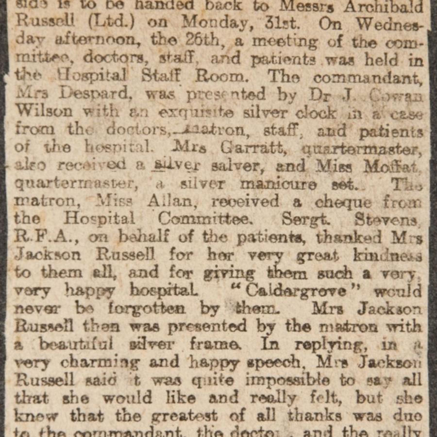 Newspaper clipping relating to Caldergrove Auxiliary Hospital<br />
