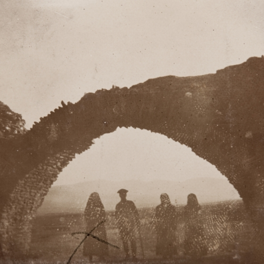 Group photo under ruined archway<br />