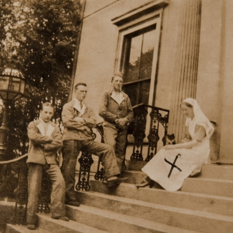 Group photograph. Nurse Annie Allan on the right<br />