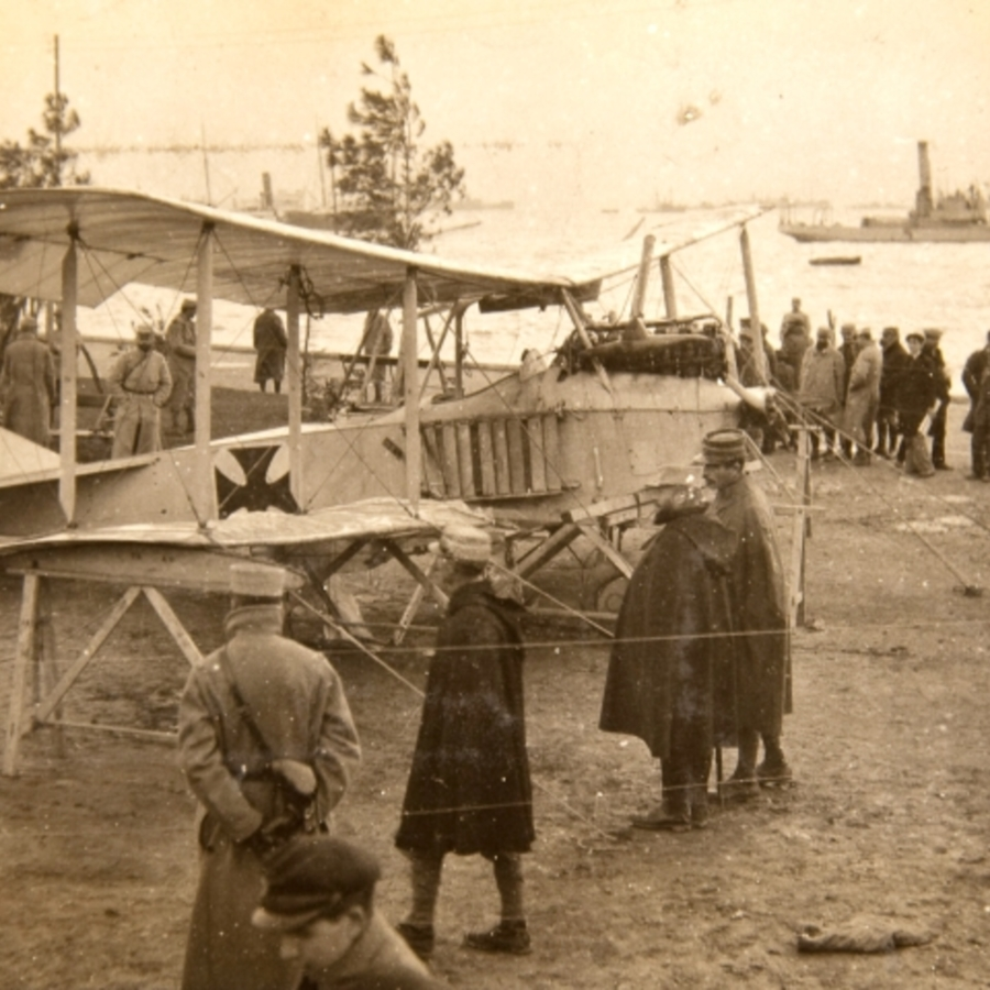 German Aeroplane, White Tower Salonika<br />